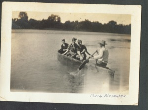 Frank Alexander Paddling Three Bathing Beauties in Canoe