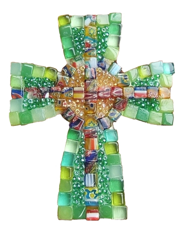green celtic cross white backgr