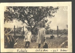 Roberta and Julia Mae with pet hen