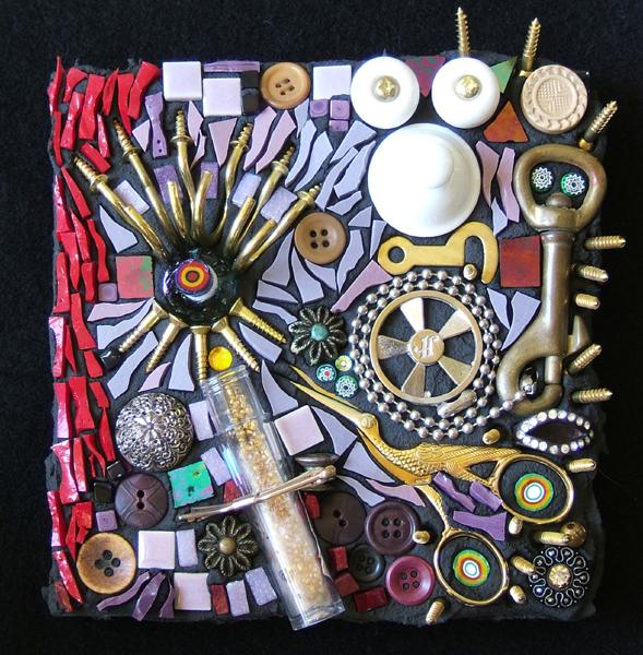 steampunk-style mosaic art by Lynn Bridge