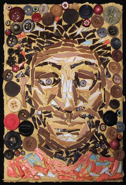 mosaic art portrait of disturbed woman