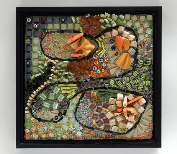 mosaic art about singing in 4-part harmony by Lynn Bridge