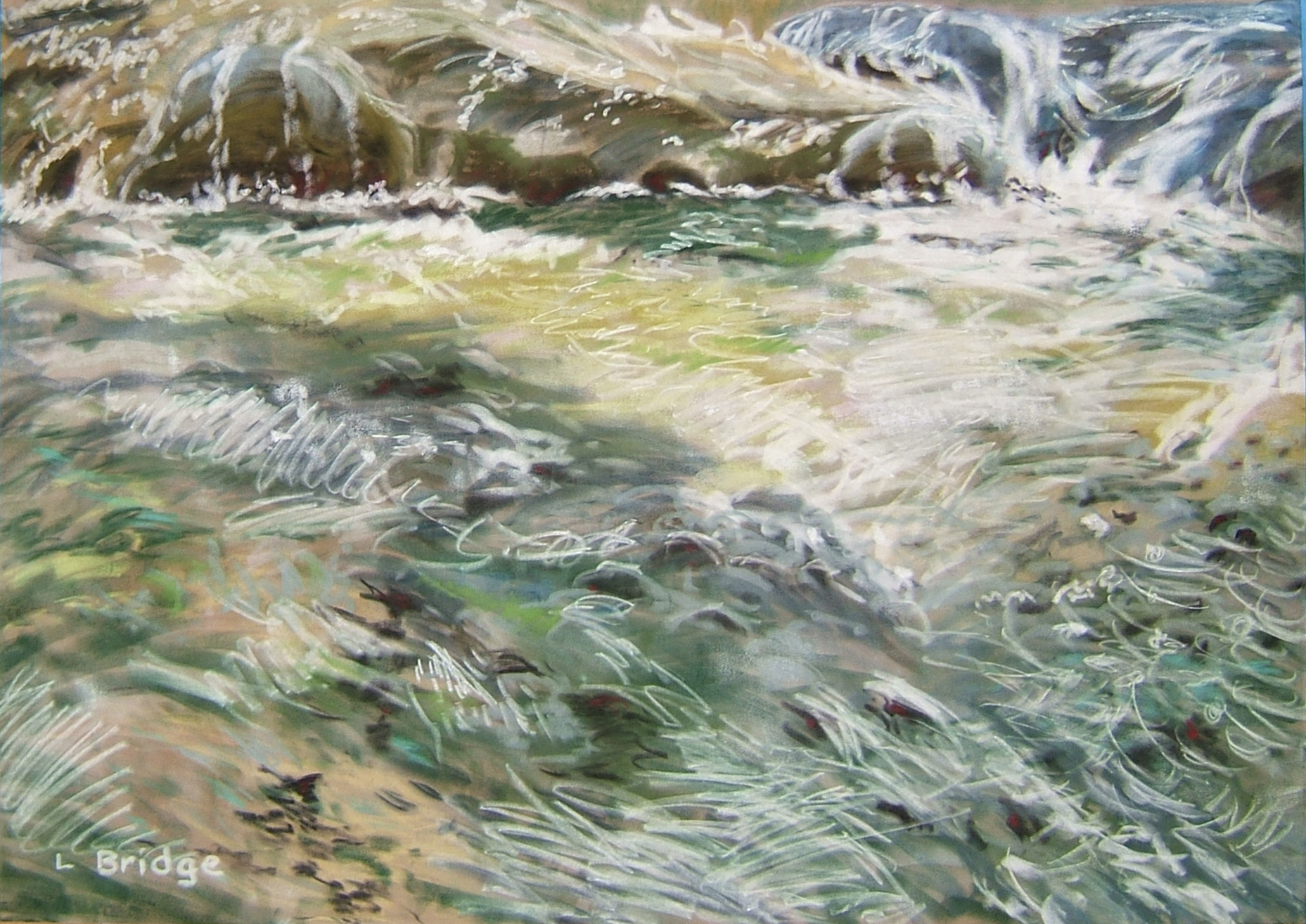 pastel painting of Texas creek by Lynn Bridge