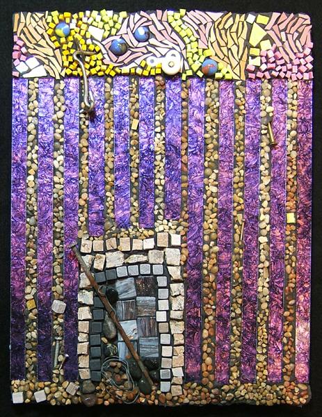 mosaic art on the theme of creative block by Lynn Bridge