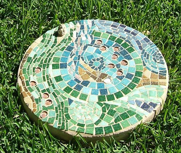 mosaic stepping stone of water by lynn bridge