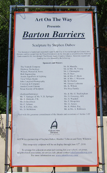 "sign about the sculpture ""Barton Barriers"""