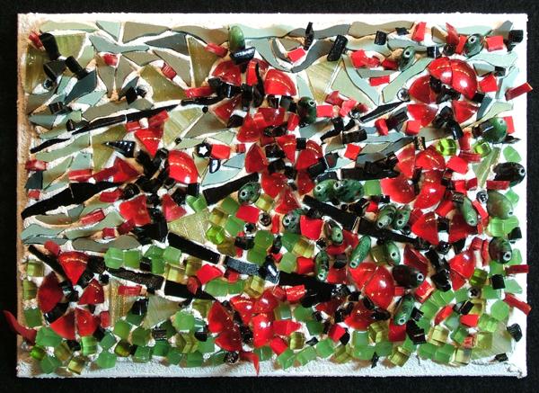 mosaic art about the shooting at Fort Hood, TX by Lynn Bridge