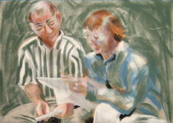 pastel sketch of John and Suzi Parker by Lynn Bridge