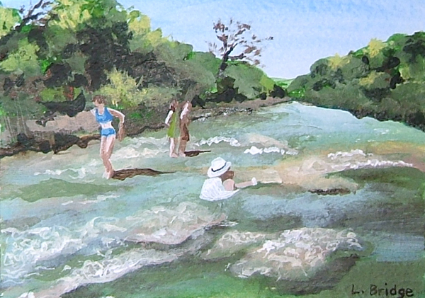 swimmers in the Guadalupe river painting by Lynn Bridge
