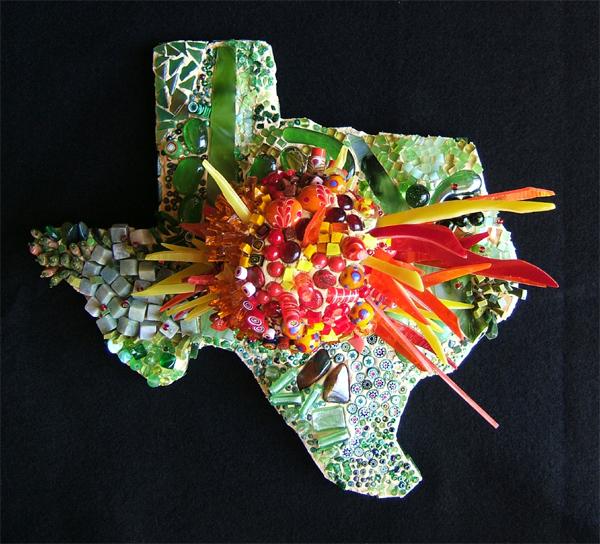 mosaic sculpture of a Texas sunrise by Lynn Bridge
