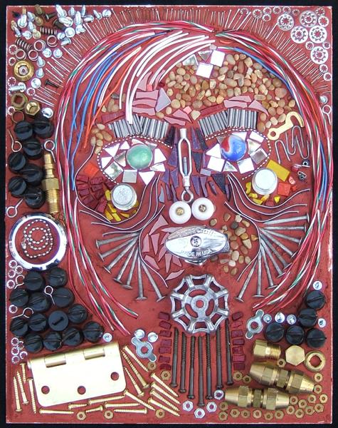 mosaic art portrait of a woman, using hardware by Lynn Bridge