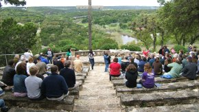 worship at outdoor chapel Mo Ranch Hunt, TX Lynn Bridge photo