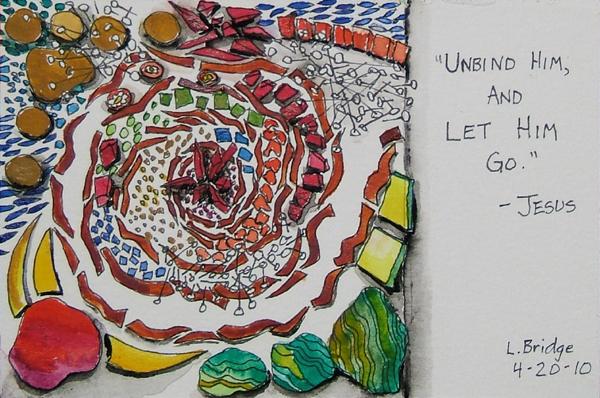 watercolor sketch of a mosaic idea by Lynn Bridge