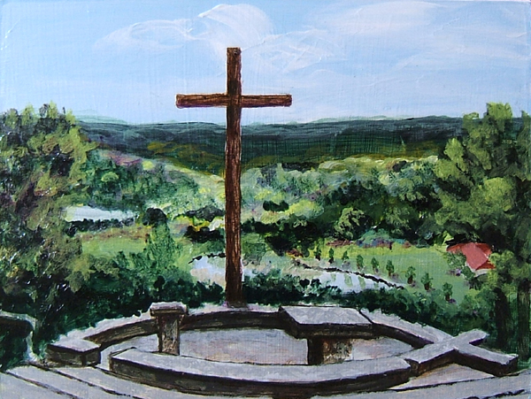 acrylic painting of the outdoor chapel at MoRanch, Texas