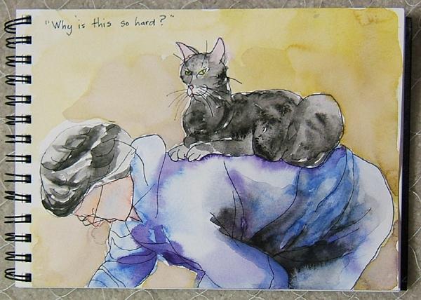 notebook watercolor- cat on back by Lynn Bridge