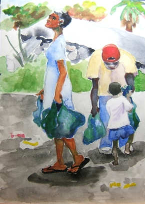 watercolor painting of people carrying bags of food -Haiti