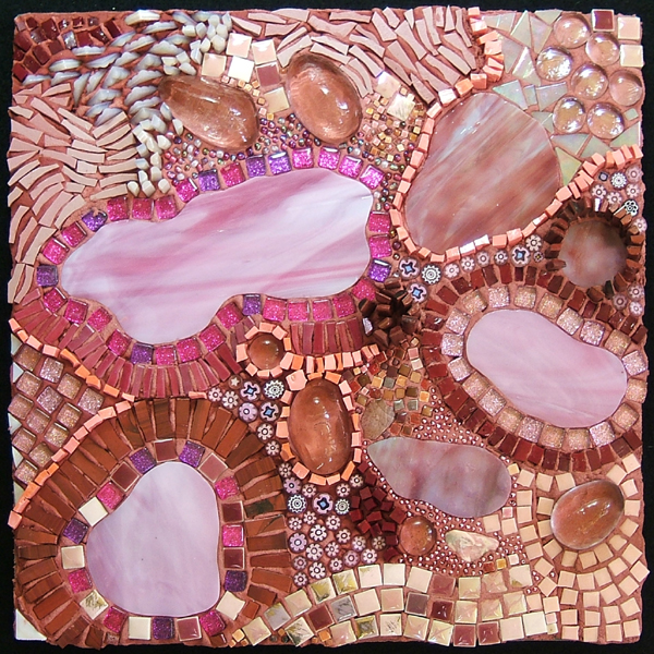 "abstract mosaic on the theme of ""Pink"" by Lynn Bridge"