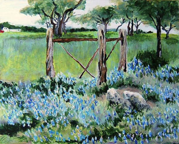 acrylic painting of bluebonnets near Round Mountain, Texas
