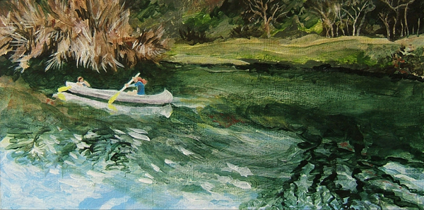 acrylic painting- canoe on Barton Creek, Austin, TX