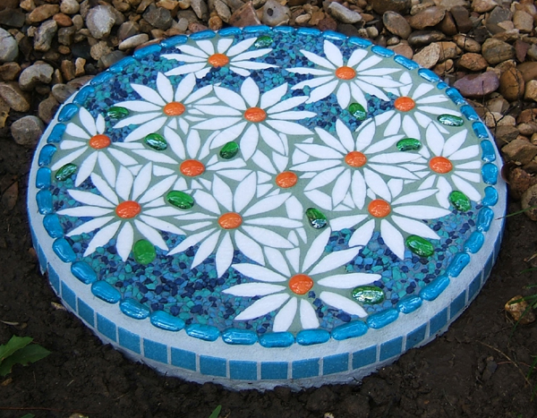 floral mosaic stepping-stone