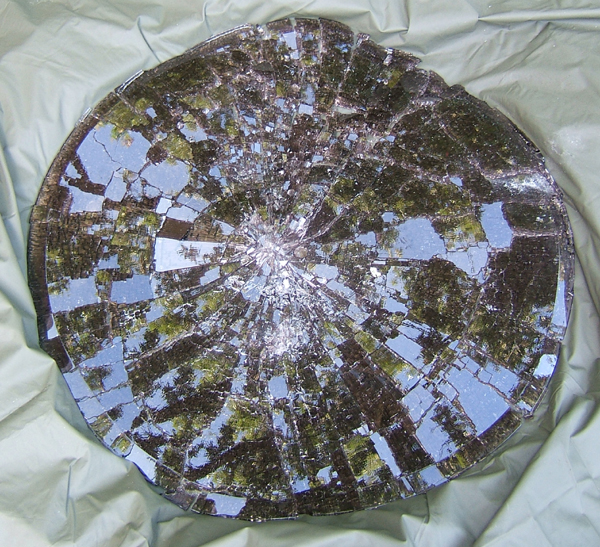 fractured safety glass table top
