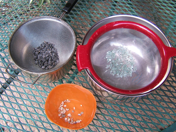 sorted gravels and crash glass