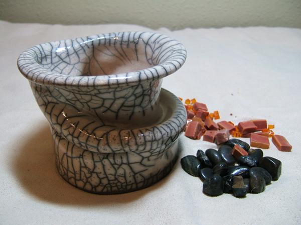 raku pot with mosaic tesserae