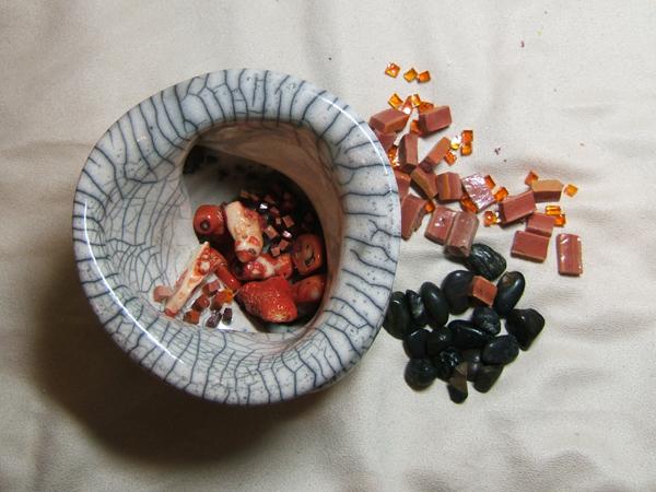 top view of a raku pot with mosaic pieces