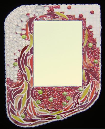 Mirror in a mosaic frame by Lynn Bridge- autumn fires theme