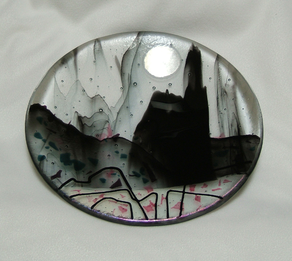 castle moon- fused glass plate by Lynn Bridge