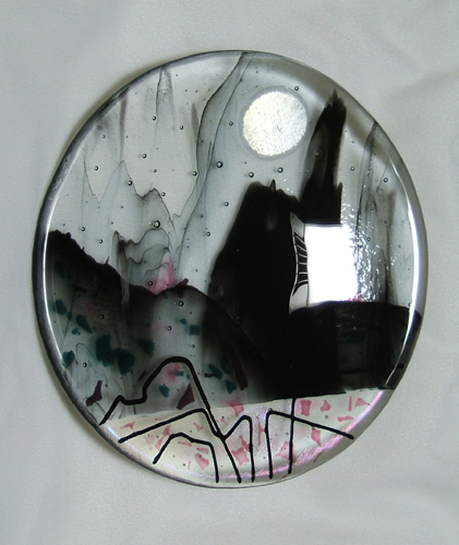 castle moon- glass fusing by Lynn Bridge