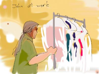 drawing of John by Lynn Bridge
