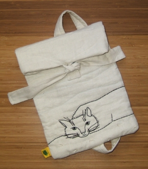 handmade iPad bag with cat motif