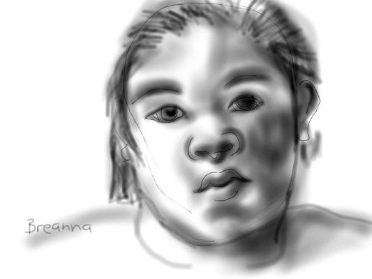 girl drawn on iPad