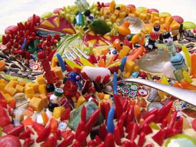 Mosaic of Tex-mex food by Lynn Bridge