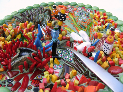 Green Mexican food plate in mosaic by Lynn Bridge