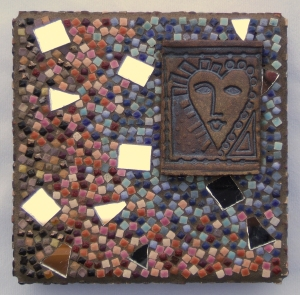mosaic by Lynn Bridge, including a ceramic heart by Roberta Mitchell