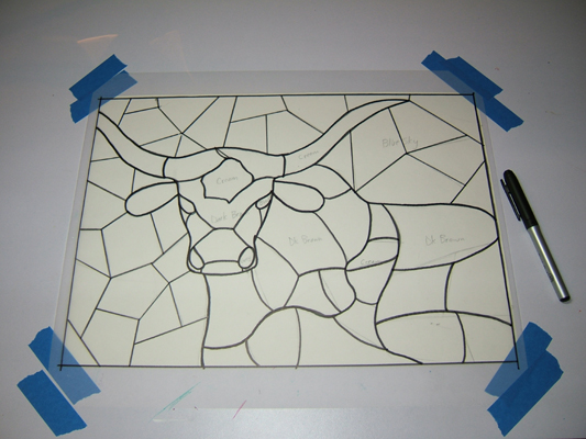 Tracing drawing of cut lines for longhorn mosaic