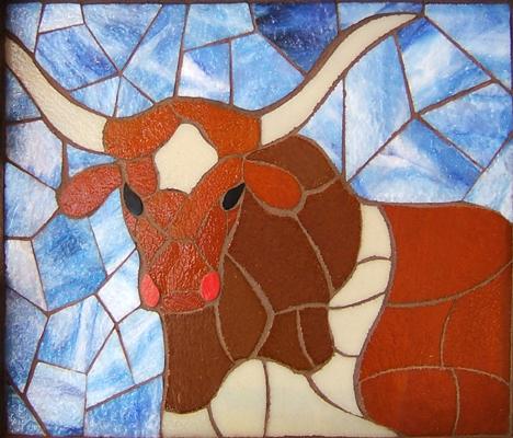 Texas longhorn steer mosaic art
