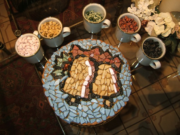 mosaic cake made from chocolate pieces