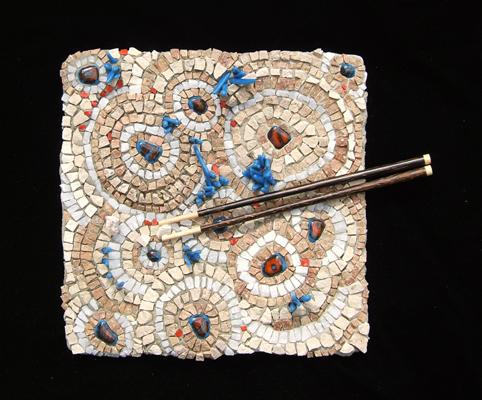 stone mosaic of Asian food by Lynn Bridge