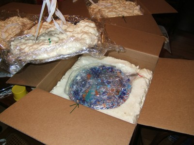 """Packing for the mosaic """"Rhythm 'n' Blues Plate Special"""" shipped from Glencliff Art Studio in Austin, TX"""