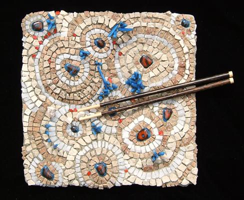 The Food Desert mosaic plate by Lynn Bridge of Glencliff Art Studio in Austin, TX