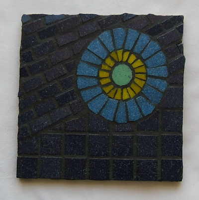 Blue Construction mosaic made as a sample for a class at Glencliff Art Studio in Austin, Texas