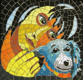 Girl and Dog mosaic made by Lynn Bridge of Glencliff Art Studio in Austin, Texas, for a therapy dog wall at Dell Children's Medical Center