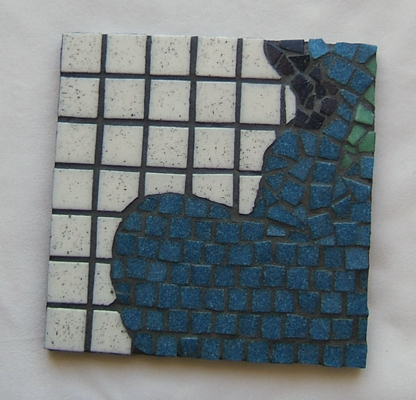 Leaking Blue Heart mosaic sample made for a class at Glencliff Art Studio in Austin, Texas