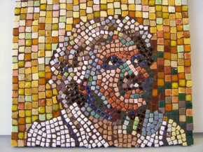 "close-up study of a detail of ""Lillian"", a mosaic portrait by Lynn Bridge"